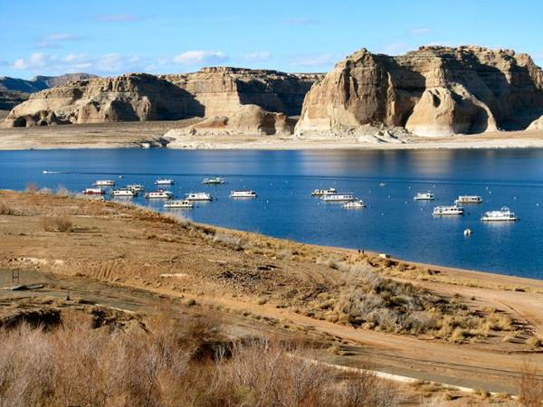 Lake Powell at historic lows — February 2014. by Dana Down-Heimes