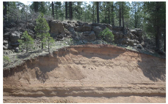 Basalt lava flow capping volcanic tephra at junction of Stoneman Lake and Lake Mary Rd.
