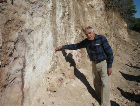 Geologist Paul Lindberg at exposure of the Lake Mary Fault on Marshall Rd adjacent to Upper Lake Mary